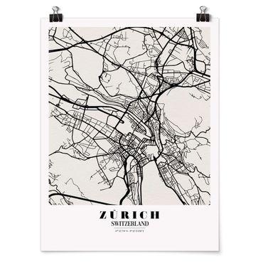 Poster - Mappa Zurigo - Classic - Verticale 4:3