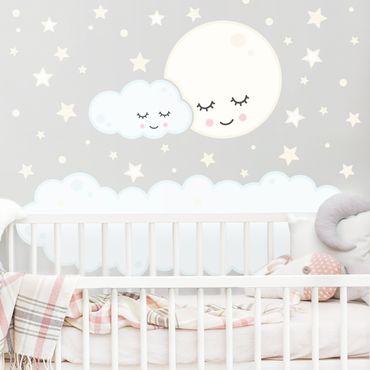 Adesivo murale - Nuvola lunare di stelle con occhi addormentati