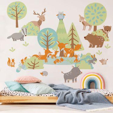 Adesivo murale - Famiglie di animali Mega set con volpi e alberi