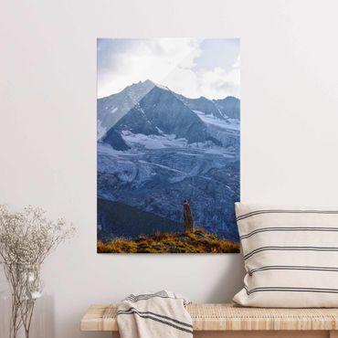 Quadro in vetro - Sentiero marcato nelle Alpi