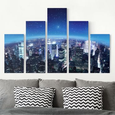 Stampa su tela 5 parti - Illuminated New York