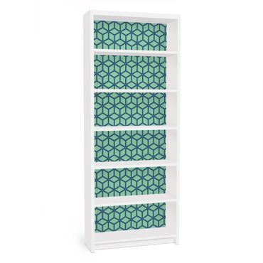 Carta adesiva per mobili IKEA - Billy Libreria - Cube pattern green