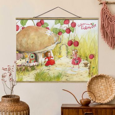 Foto su tessuto da parete con bastone - Strawberry Coniglio Erdbeerfee - Under The Raspberry Bush - Orizzontale 3:4