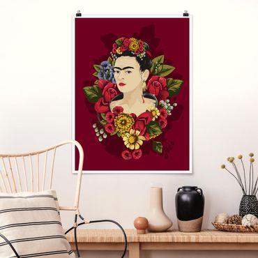 Poster - Frida Kahlo - Roses - Verticale 4:3