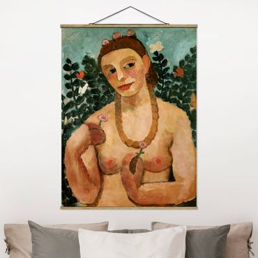 Foto su tessuto da parete con bastone - Paula Modersohn-Becker - Mezza Act con ambra collana - Verticale 4:3