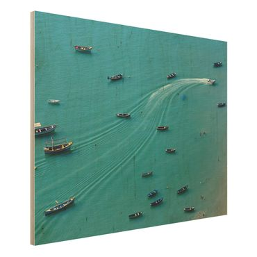 Quadro in legno - Pesca barche ancorate - Orizzontale 4:3