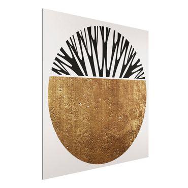 Stampa su alluminio - Forme astratte - cerchio dorato - Quadrato 1:1