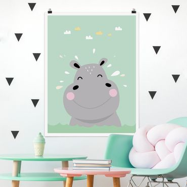 Poster - The Happy Hippo - Verticale 4:3
