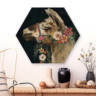 Esagono in legno - Lama Con Decorazione Floreale II