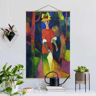Foto su tessuto da parete con bastone - August Macke - Lady In The Park - Verticale 3:2
