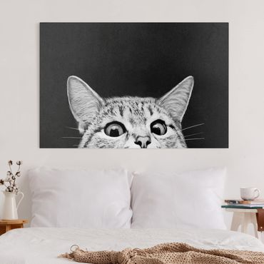 Quadri su tela - Illustrazione Gatto Bianco E Nero Disegno