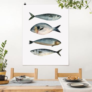 Poster - Quattro pesci in acqua di colore II - Verticale 4:3