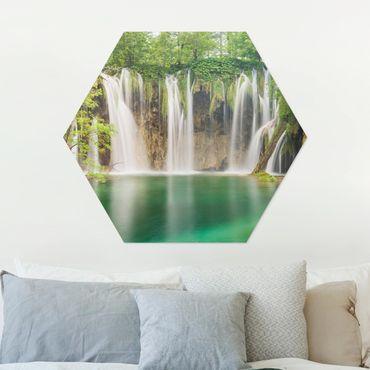 Esagono in Alu-dibond - Cascata Laghi di Plitvice