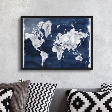 Poster con cornice - Water World Map Dark - Orizzontale 3:4