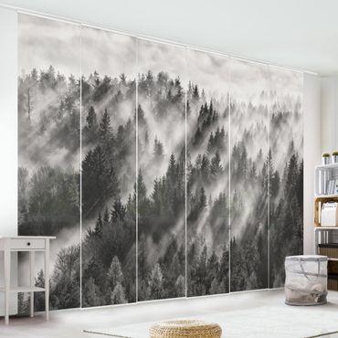 Tende scorrevoli set - Raggi Luce nella foresta di conifere