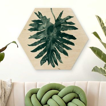 Esagono in legno - Emerald Philodendron Bipinnatifidum