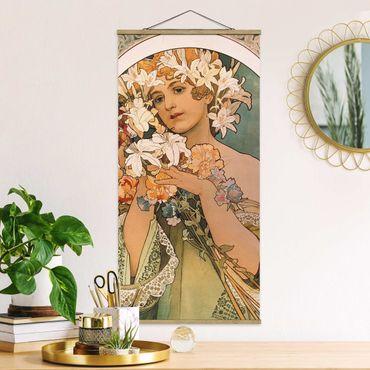 Foto su tessuto da parete con bastone - Alfons Mucha - Fiore - Verticale 2:1