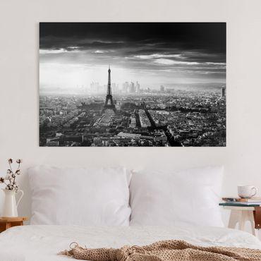 Stampa su tela - La Torre Eiffel From Above Bianco e nero - Orizzontale 3:2