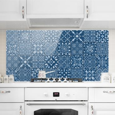 Paraschizzi in vetro - Pattern Tiles Navy White