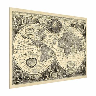 Lavagna magnetica - Illustrazione Vintage Mappa del mondo antico - Formato orizzontale 3:4