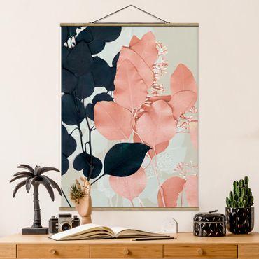Foto su tessuto da parete con bastone - Foglie Indigo & Rouge I - Verticale 4:3