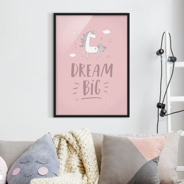 Poster con cornice - Dream Big Unicorn - Verticale 4:3