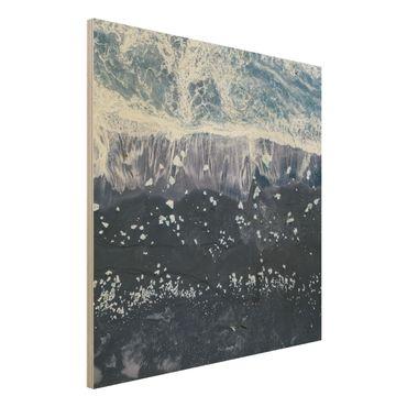 Quadro in legno - Veduta aerea - Jökulsárlón in Islanda - Quadrato 1:1