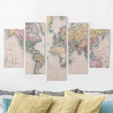 Stampa su tela 5 parti - Vintage World Map 1850