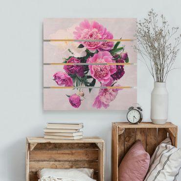 Stampa su legno - Peonia Rosa Shabby Bianco - Quadrato 1:1