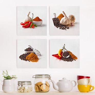 Stampa su tela 4 parti - Chili garlic and spices - Sets