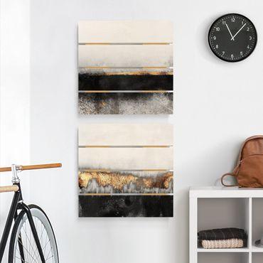 Quadro in legno effetto pallet - Elisabeth Fredriksson - In astratto Golden Horizons in acquerello - Quadrato 1:1