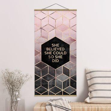Quadro su tessuto con stecche per poster - Elisabeth Fredriksson - Ha creduto che potesse in oro rosa - Verticale 2:1