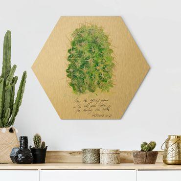 Esagono in Alu-dibond - Cactus Con Bible Verses II