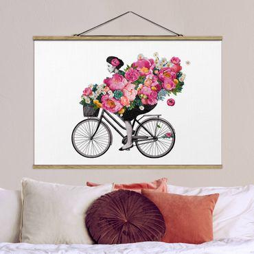 Foto su tessuto da parete con bastone - Laura Graves - Illustrazione Donna in bicicletta Collage fiori variopinti - Orizzontale 2:3