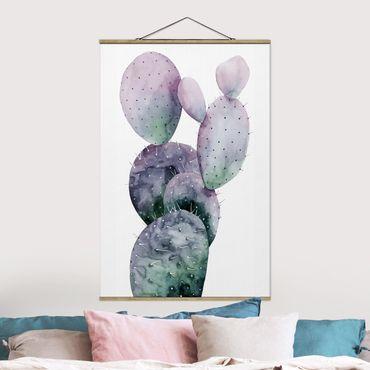 Foto su tessuto da parete con bastone - Cactus In Viola I - Verticale 3:2