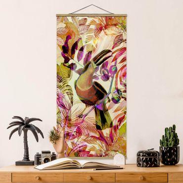 Foto su tessuto da parete con bastone - Colorato collage - Tukan - Verticale 2:1