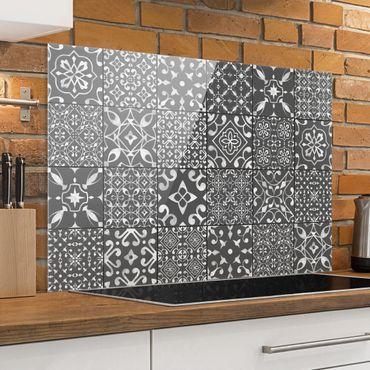 Paraschizzi in vetro - Pattern Tiles Dark Gray White