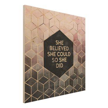 Stampa su legno - Ha creduto che potesse in oro rosa - Quadrato 1:1