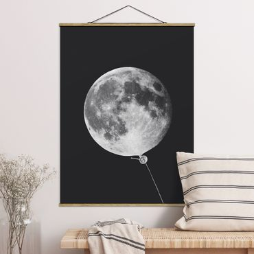 Foto su tessuto da parete con bastone - Balloon Con La Luna - Verticale 4:3