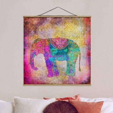 Foto su tessuto da parete con bastone - Colorato collage - Elefante indiano - Quadrato 1:1