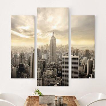 Stampa su tela 3 parti - Manhattan Dawn - Trittico da galleria