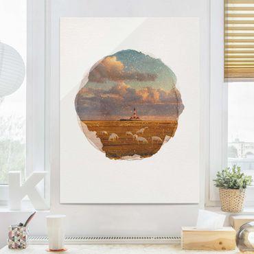 Quadro in vetro - Acquerelli - Mare del Nord Faro con Sheepherd - Verticale 4:3