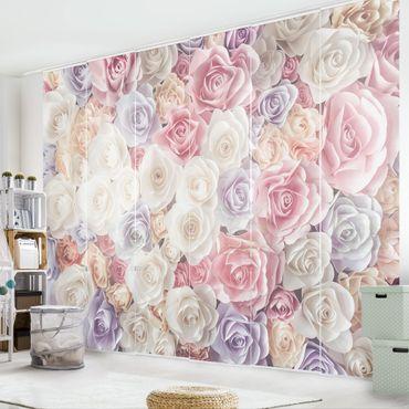 Tende scorrevoli set - Pastel Paper Art Roses