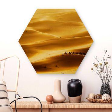 Esagono in legno - dune dorate