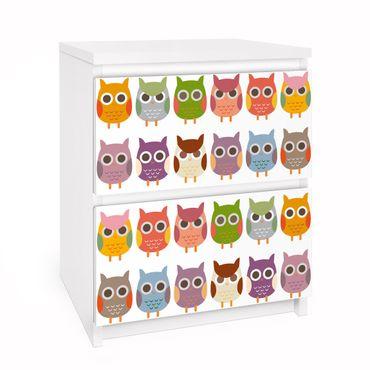 Carta adesiva per mobili IKEA - Malm Cassettiera 2xCassetti - no.EK147 Owl Parade Set II