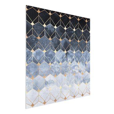 Stampa su Forex - Blu Geometria Golden Art Deco - Quadrato 1:1