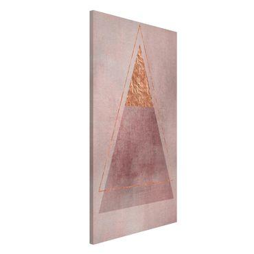 Lavagna magnetica - Geometria In rosa e oro II - Formato verticale 4:3