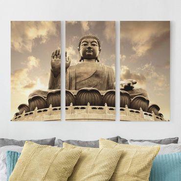 Stampa su tela 3 parti - Big Buddha Sepia - Verticale 2:1