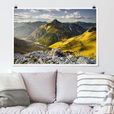 Poster - Montagne e valle delle Alpi Lechtal in Tirolo - Orizzontale 2:3