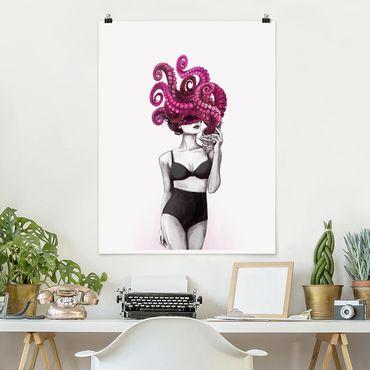 Poster - Illustrazione Donna In Biancheria Intima Bianco e nero Octopus - Verticale 4:3